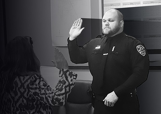 Jacob Jones is sworn in as a Willits police officer June 12.