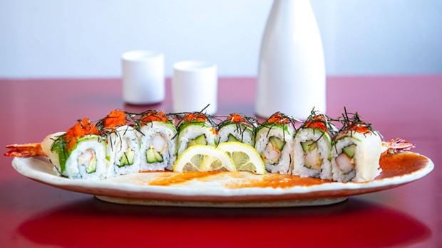 The Paradise roll with tempura shrimp, shiso leaves and lemon-dipped hamashi.