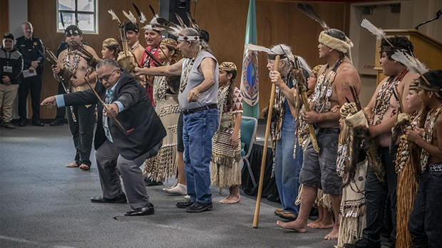 Wiyot Tribal Chair Ted Hernandez joins the ceremonial Brush Dance.