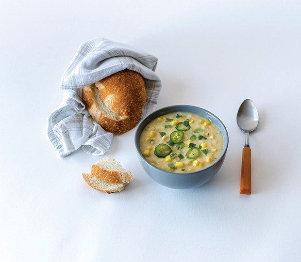 Hearty vegan corn chowder.