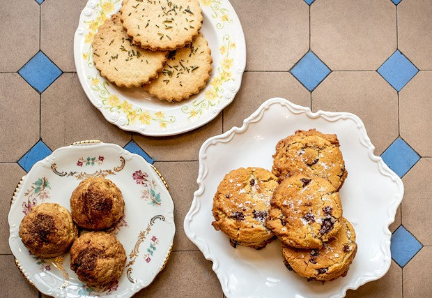 Snickerdoodle, rosemary lemon and salted chocolate chip cookies.