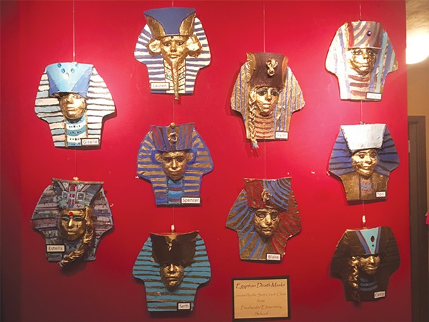 Freshwater Elementary School 6th grade Egyptian mask project at Redwood Curtain Theatre.