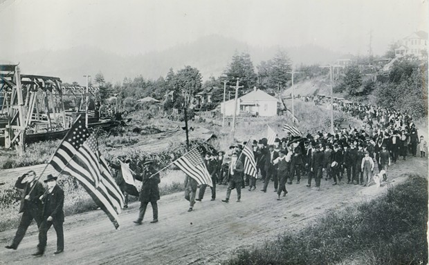 This photo of the Armistice Day march from Rio Dell to Scotia shows the extent to which the countywide face mask ordinance was ignored by some.