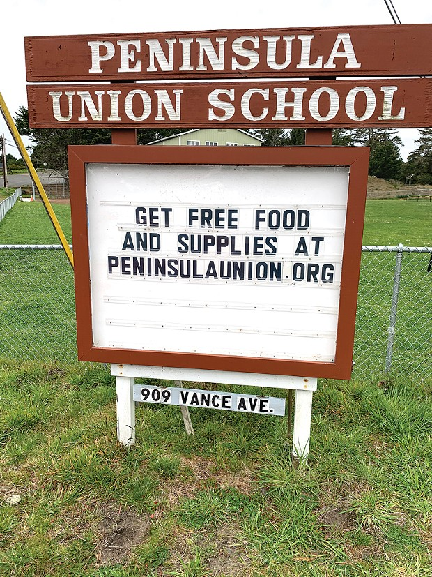 The marquee in front of Peninsula Union School.