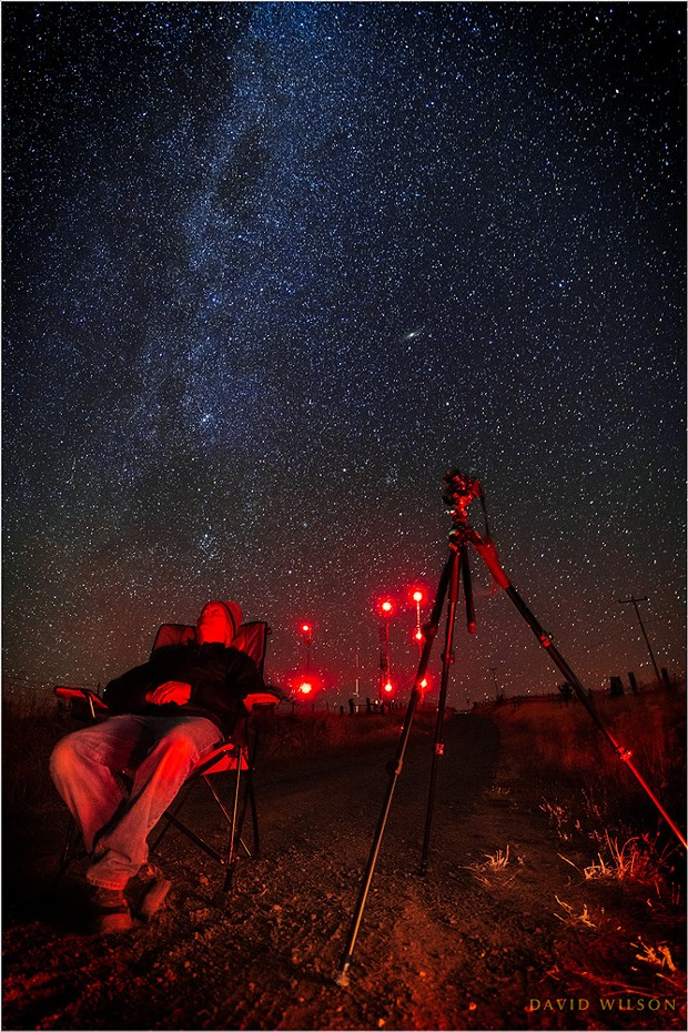 """""""Self Portrait in Red, with Perseid Meteors on My Mind ..."""" In the hills of Humboldt County, just past midnight on Aug. 13."""