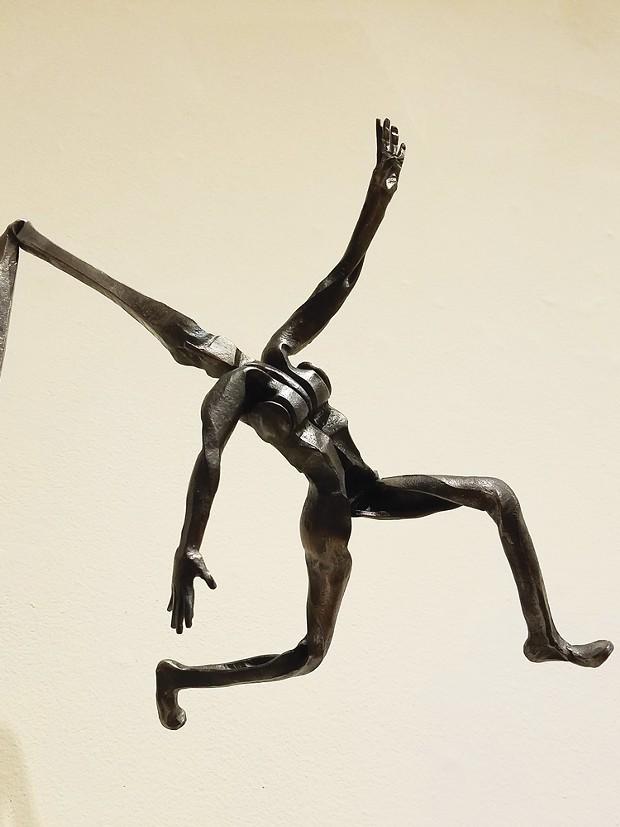"Detail of Monica Coyne's 2019 mild steel sculpture ""Spun."""
