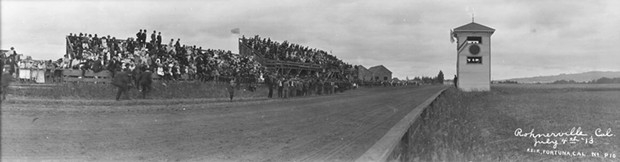 A panoramic shot of the Rohnerville track on July 4, 1913.