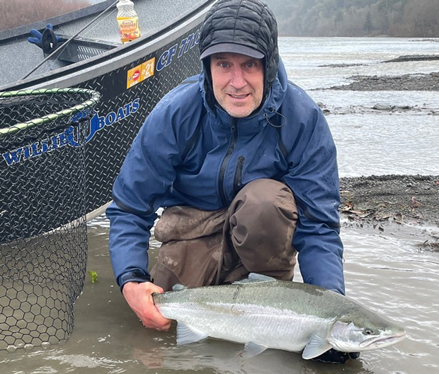 McKinleyville resident Scott McBain holds a nice wild steelhead landed on Monday while fishing the Eel River.