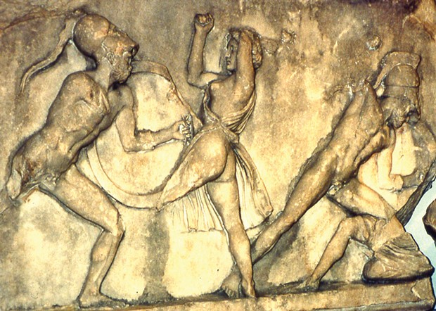 "Section of the ""Amazons versus Greeks"" marble frieze that once decorated the Mausoleum of Halicarnassos (modern Bodrum, Turkey), sculpted about 350 B.C. It's now in the British Museum next to statues of King Mausolus of Caria (the guy for whom the mausoleum was built and from whom we get the word mausoleum) and his wife."