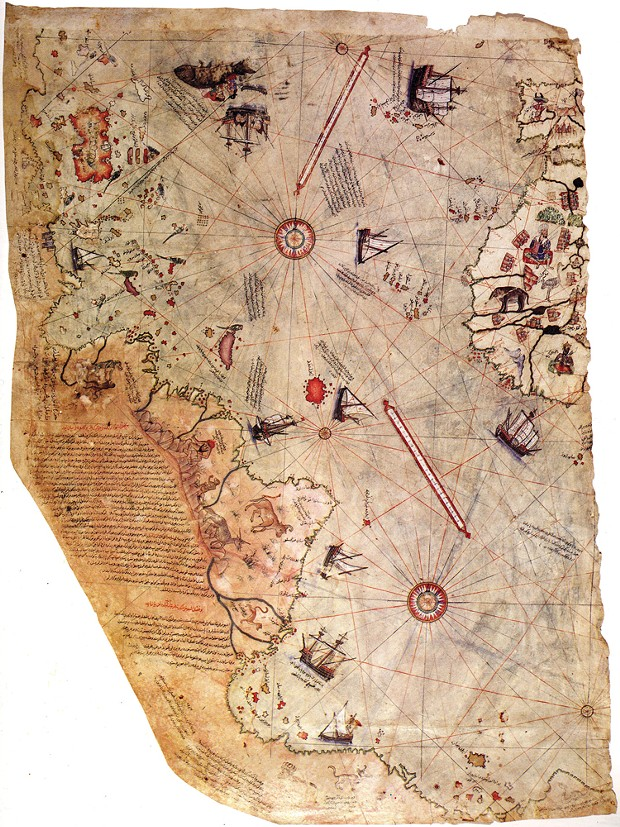 Detail of the surviving half of Piri Reis' 1513 world map synthesizes information from more than 20 previous maps of the New World, including charts by Christopher Columbus and Vasco de Gama. The map is now in Istanbul's Topkapi Museum.