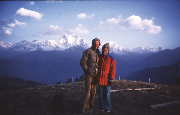 Louisa Rogers and her husband, Barry Evans, in the Himalayas near Dhaulagiri.