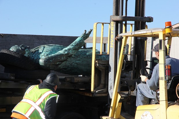 The statue of President McKinley being readied for transport in March of 2019.