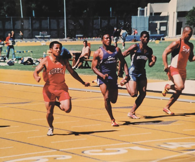 Khaek Khongsaengdoa (left), pictured running the fastest timed 100 meters in Humboldt-Del Norte League history.