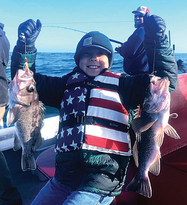 Nine-year-old Joey Swancey, of Palo Cedro, scored a pair of black rockfish while fishing out of Trinidad Monday.