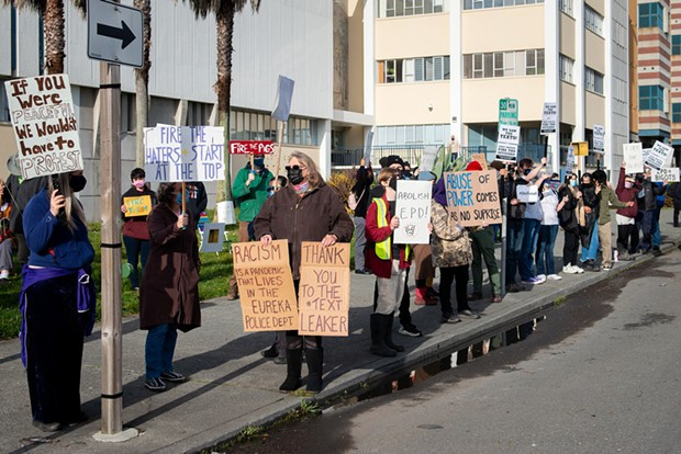 About 50 demonstrators gather at the Humboldt County Courthouse in March to demand the Eureka Police Department fire officers involved in offensive group text messages exposed in a Sacramento Bee article.