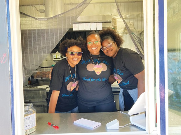 LaToya Fields and her daughters Taziyah Harris and Caci Fowler in the Razz-Ma-Tazz soul food truck.