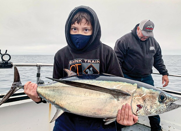 Eleven-year-old Paul Griffith, of Chico, landed this hefty albacore tuna on Saturday while fishing roughly 45 miles northwest of Trinidad.