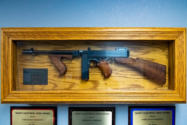 The Eureka Police Department is investigating whether the .45 caliber Thompson submachine gun displayed in its briefing room was the same one used in a deadly clash between protesters, police and private security guards at the Holmes Eureka Mill in 1935.