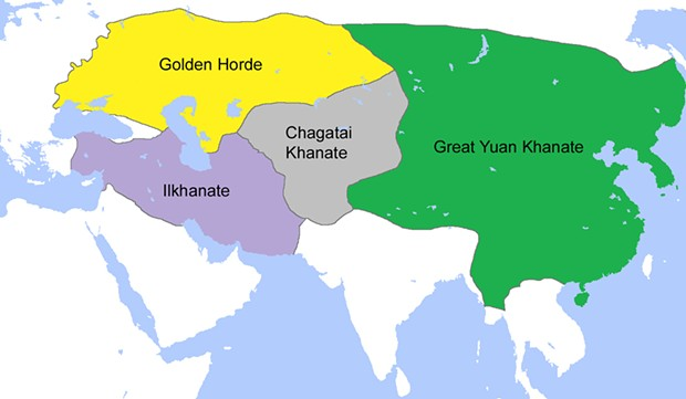 Following the death of Genghis Khan, the Mongol Empire both expanded and divided into four huge khanates (territories) governed by his eldest sons.