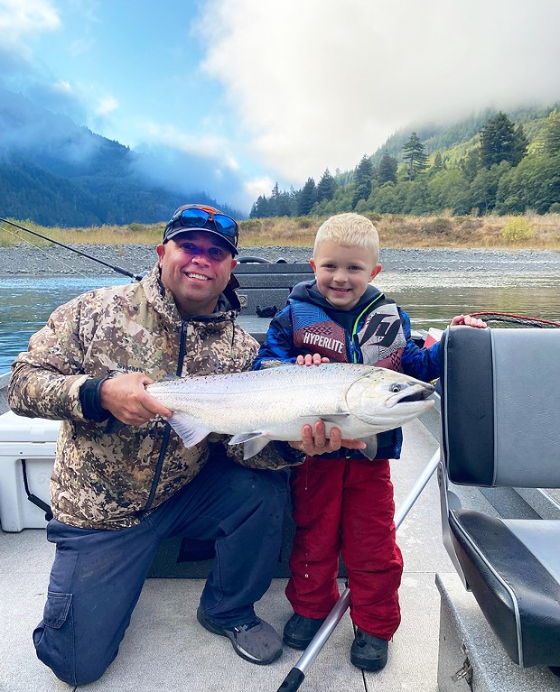 Six-year-old Rylan Angeli, along with the help of father Nick, landed this nice king salmon on a recent trip to the Klamath River.