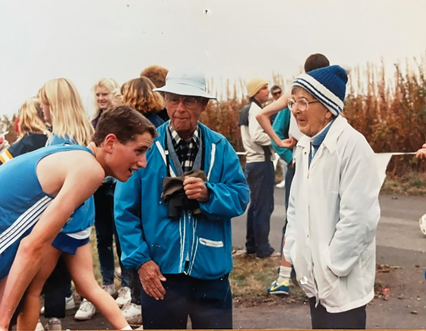 Mike Katri with Bill and Emily Langenbach at a Fortuna High School meet.