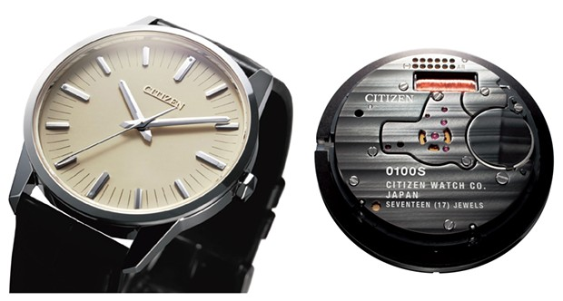 The Citizen Eco-Drive Caliber 0100, the world's most accurate autonomous watch, incorporates a quartz crystal vibrating more than 8 million times a second. The fine-wire coil seen through the clear back operates its once-a-second stepper motor.