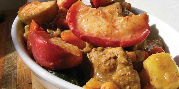 Sweet, tart apples in a spiced chicken stew.