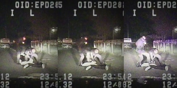 Still frames from a Dec. 6, 2012 Eureka police video.