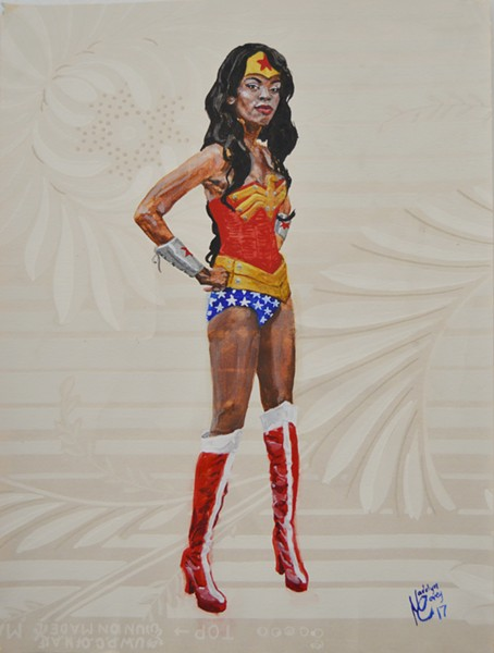 "Madelyn Covey,'s ""Wonder Woman,"" watercolor on wallpaper, 2017. - COURTESY OF THE ARTIST"