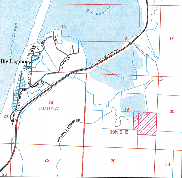 The project site and its proximity to U.S. Highway 101 and Big Lagoon. - COUNTY STAFF REPORT