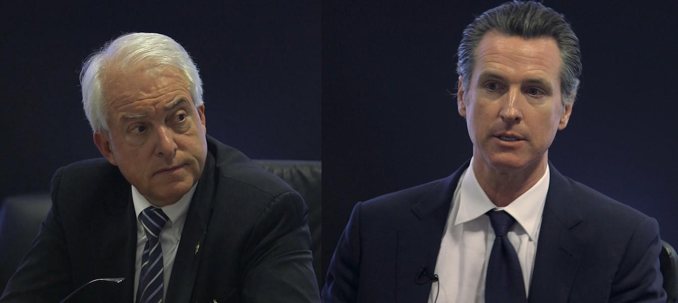 John Cox (left) and Gavin Newsom. - BEN CHRISTOPHER