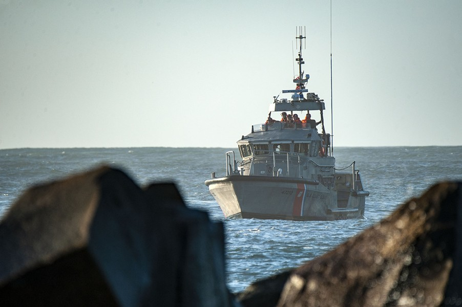 The Coast Guard at the scene of Monday's search. - MARK MCKENNA