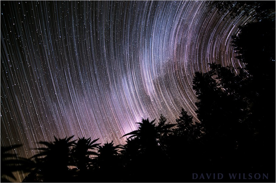 A composite of stills from the time-lapse. The streaks were the paths of the stars as they swung across the sky. - DAVID WILSON