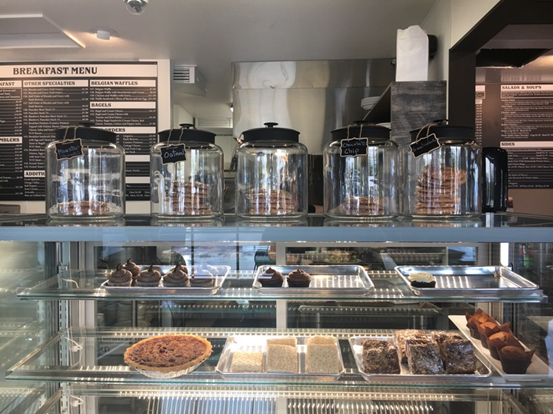 The pastry case at Toni's is the glass shrine the pies, brownies and cupcakes deserve. - PHOTO BY JENNIFER FUMIKO CAHILL