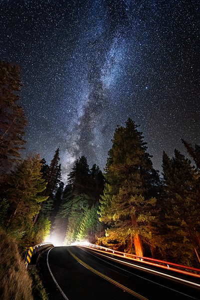 The Avenue of the Giants passes over U.S. Highway 101 beneath the Milky Way at Women's Federation Grove. October of 2018. - PHOTO B Y DAVID WILSON