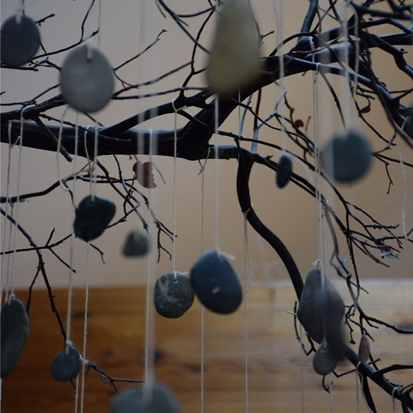 River rocks, each representing a ResolutionCare patient who has died, hang from a Manzanita branch in the health care company's office. - PHOTO BY THADEUS GREENSON