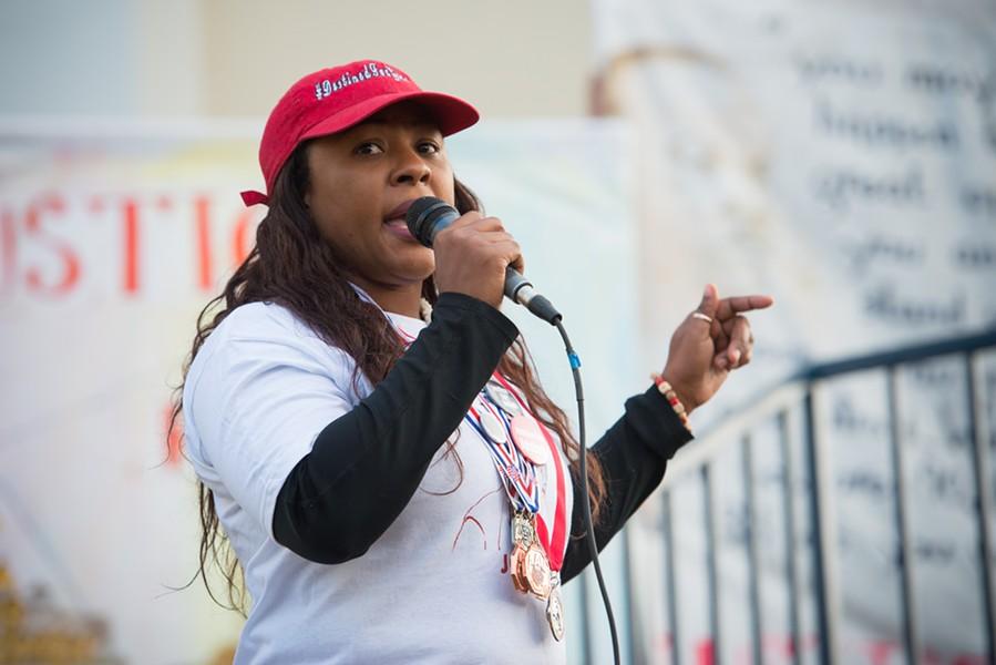 Charmaine Lawson speaks to the crowd. - MARK MCKENNA