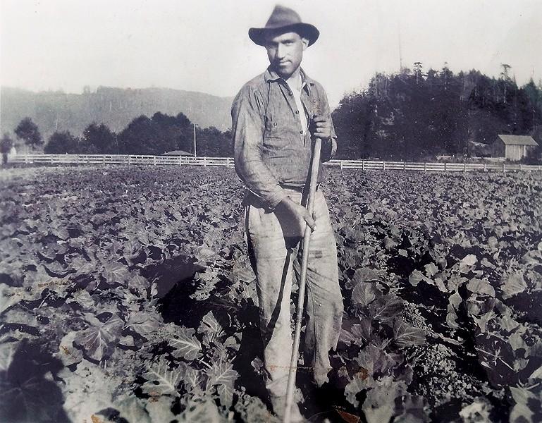 Paul Giuntoli's grandfather Giovanni Giuntoli on the family farm. - COURTESY OF PAUL GIUNTOLI
