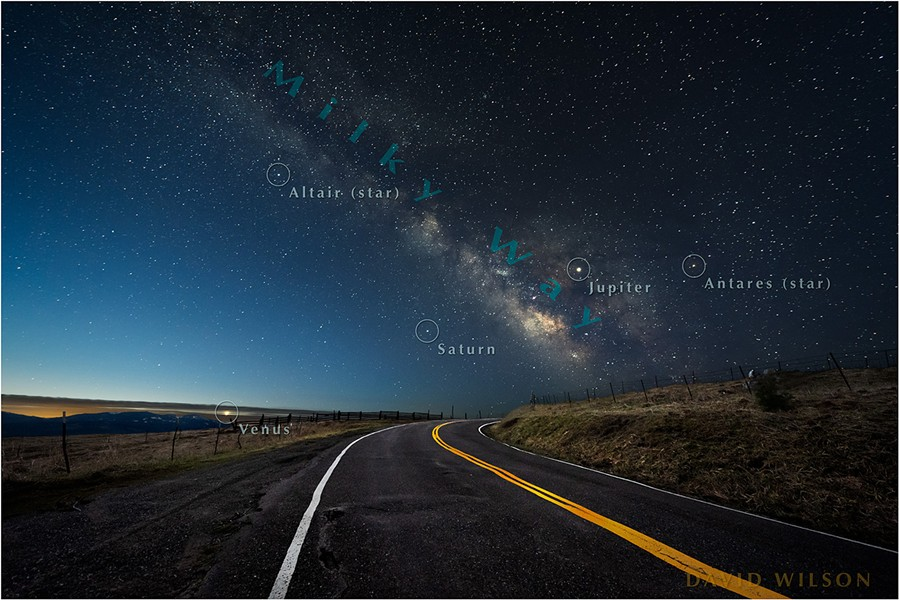 Annotated version showing three neighboring planets and a couple notable stars. The Core of our galaxy is the more detailed area of the Milky Way low on the horizon. [Note: This map can lead the aliens directly to us, so be responsible.] - DAVID WILSON