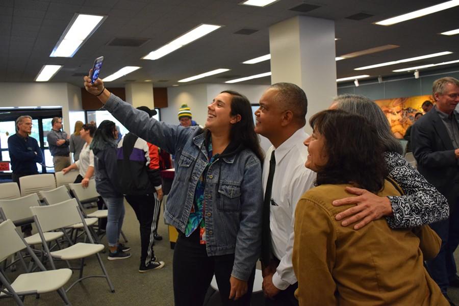 HSU President Tom Jackson Jr. taking a group photo with HSU community members. - IRIDIAN CASAREZ