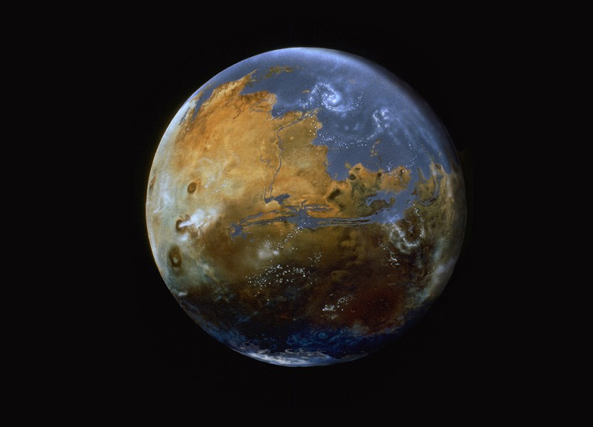 Past Mars (3.8 billion years ago) and future Mars if we warmed the planet sufficiently to thicken the atmosphere and bring long-lost oceans back. - COURTESY OF MICHAEL CARROLL