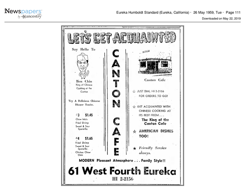 1959 Canton Cafe menu - COURTESY OF DON CHIN