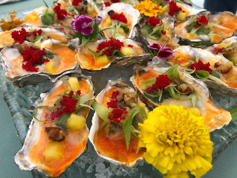 Cooked oysters from Sushi Spot, which came away with Best in Show. - PHOTO BY JENNIFER FUMIKO CAHILL