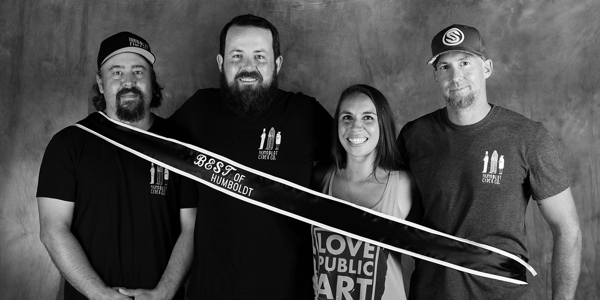 Group photo: Jamie Ashdon, Tom Hart, and Michelle and Darren Cartledge of Humboldt Cider Co. - MARK MCKENNA