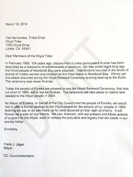 The letter former Mayor Frank Jager wrote to the Wiyot Tribe.