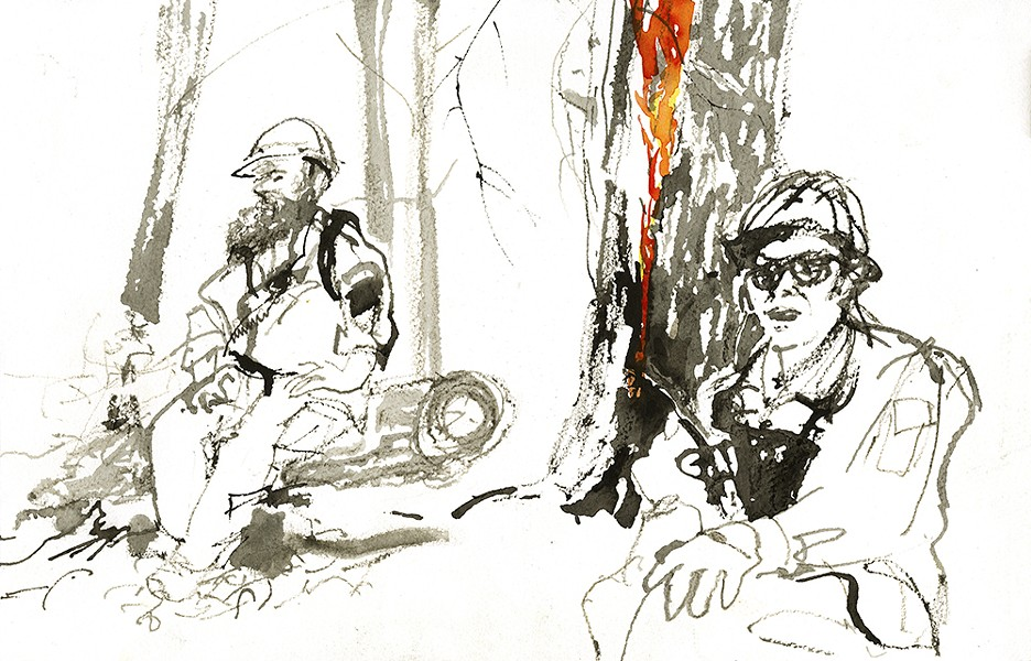 Art by Laurie Wigham depicts a firefighter in a moment of respite from the lines of a controlled burn.