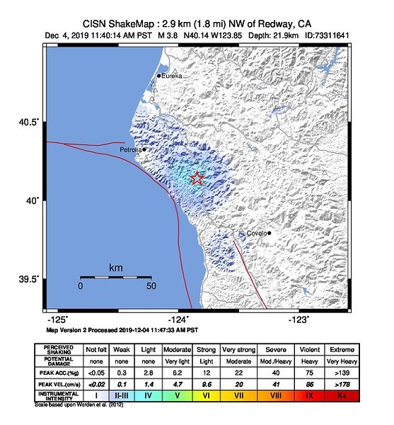 ShakeMap of the 3.8 earthquake in Redway - USGS