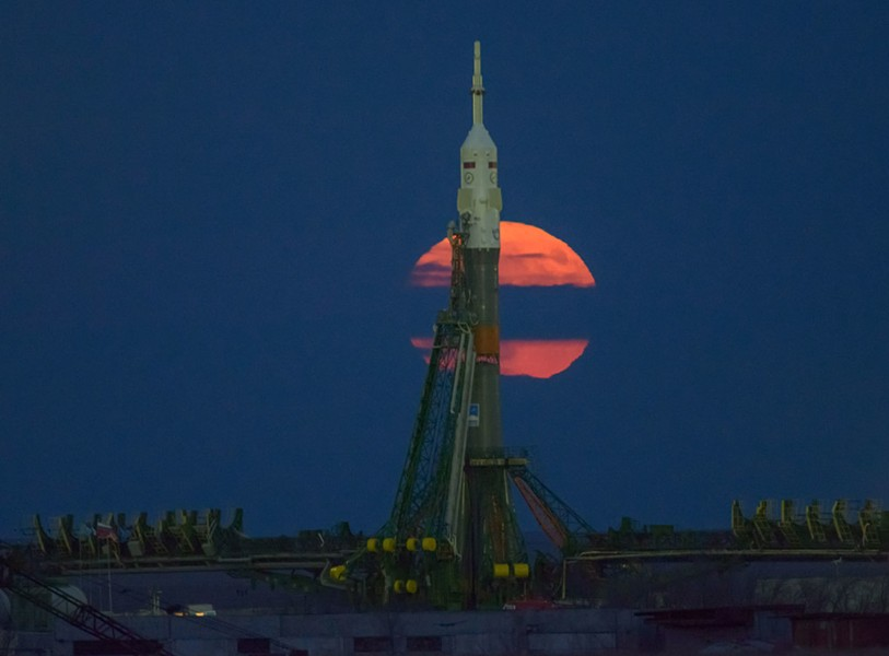 Supermoon over the launchpad. - NASA