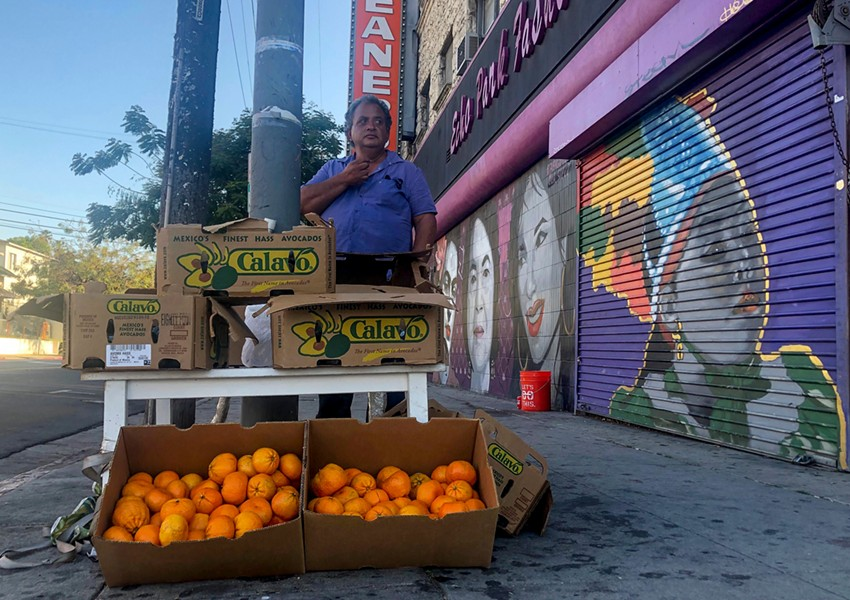 Carlos Perez-Vasquez has sold fruit and flowers on the streets of Echo Park for 20 years. - NIGEL DUARA FOR CALMATTERS