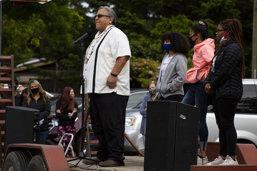 Wiyot Tribal Chair addresses the crowd at Rohner Park and encourages people to educate themselves on matters of racial inequality on June 5 following the death of George Floyd in Minneapolis police custody. - THOMAS LAL